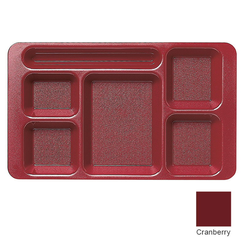 "Cambro 1596CW416 Rectangular Camwear Tray - 6-Compartment, 9x15"" Polycarbonate, Cranberry"