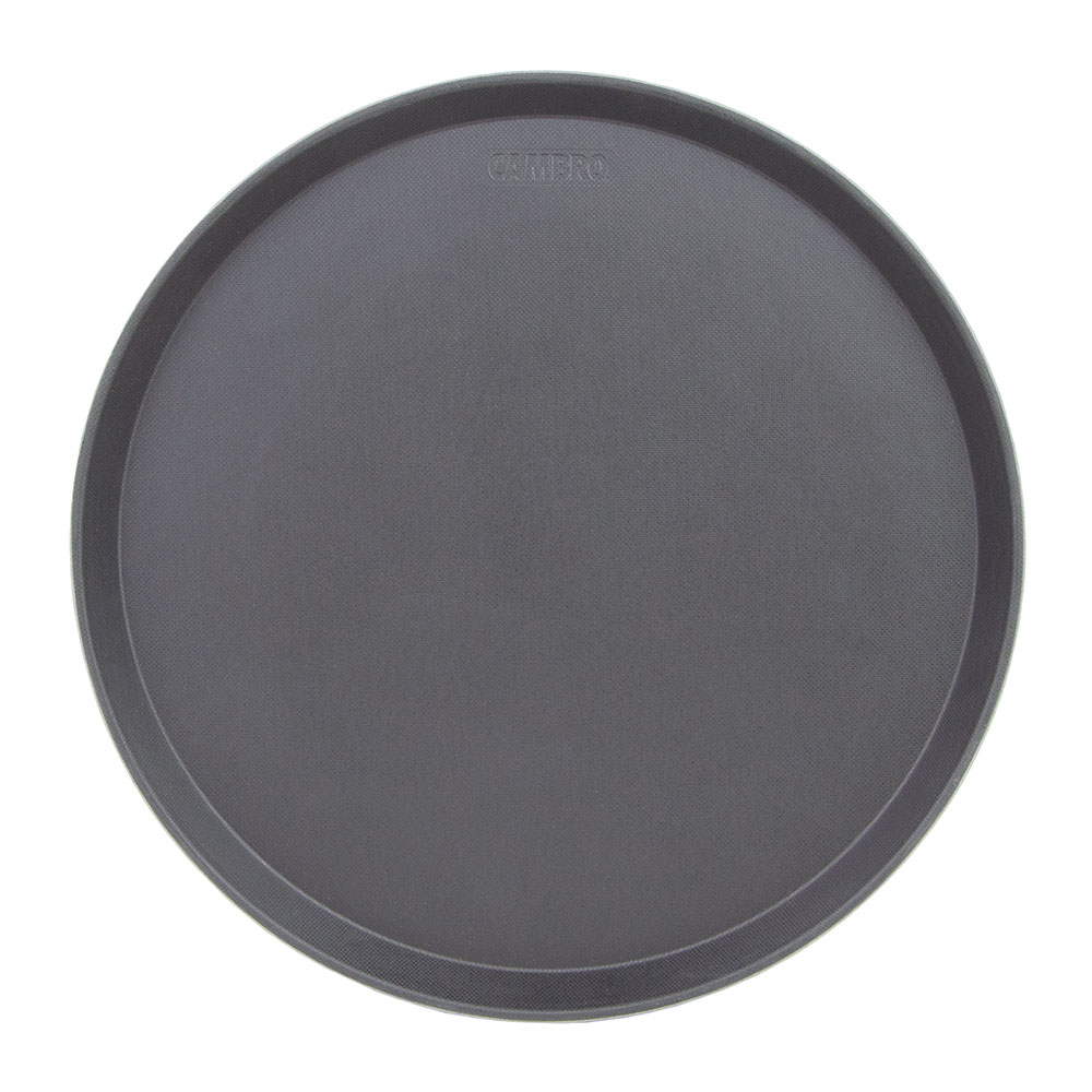 "Cambro 1600CT110 16"" Round Camtread Serving Tray - Black Satin"