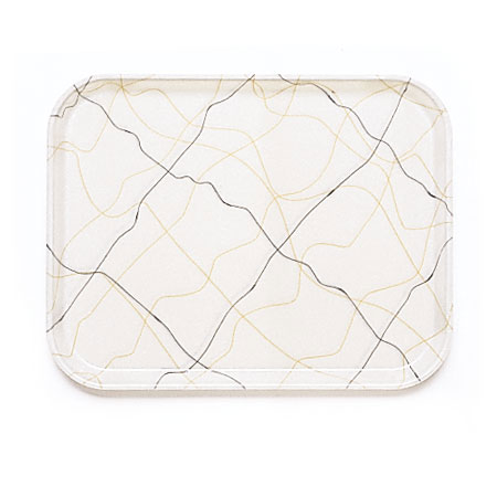 "Cambro 1622270 Rectangular Camtray - 16x22"" Swirl Black/Gold"