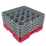 "Cambro 16S800163 Camrack Glass Rack - (4)Extenders, 16-Compartment, 8-1/2""H Red"