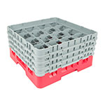 "Cambro 16S800416 Camrack Glass Rack - (4)Extenders, 16-Compartment, 8-1/2""H Cranberry"