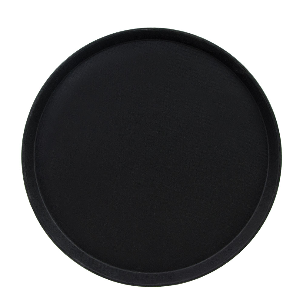 "Cambro 1800CT110 18"" Round Camtread Serving Tray - Black Satin"