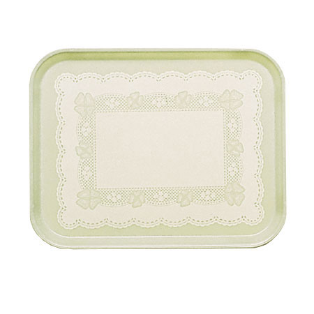 "Cambro 1826241 Rectangular Camtray - 18x25-3/4"" Doily Antique Parchment"