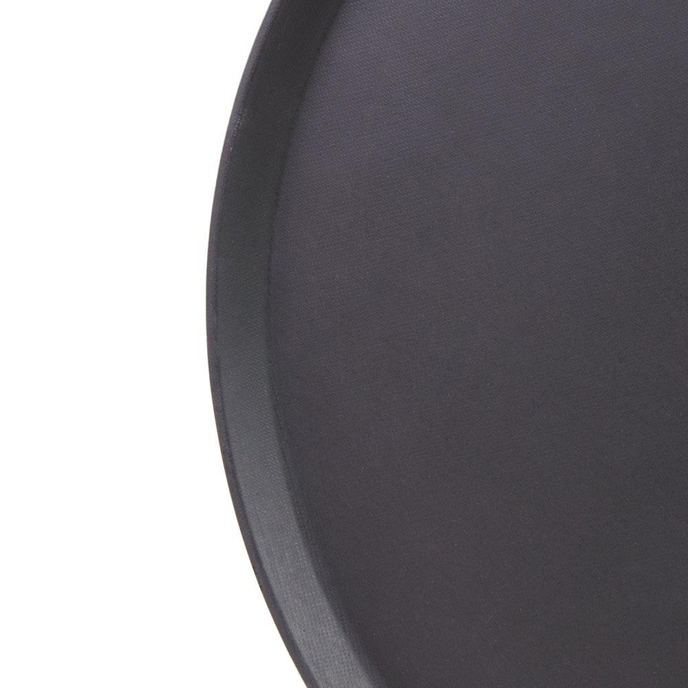 "Cambro 1950CT110 19-7/16"" Round Camtread Serving Tray - Low Profile, Black Satin"
