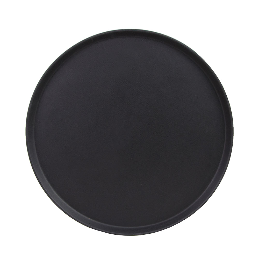 "Cambro 1950CT110 19-7/16"" Round Camtread Serving Tray - Low Profile, Black Satin"