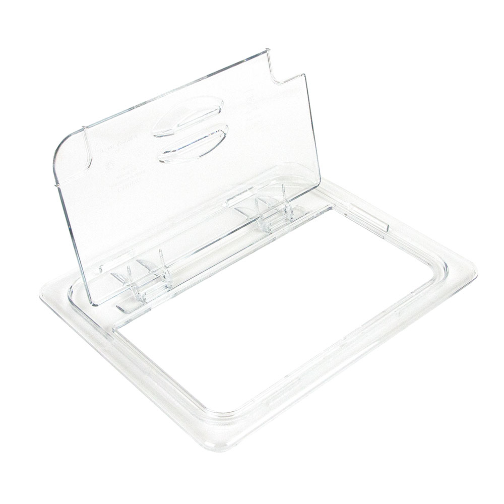 Cambro 20CWLN135 FlipLid Food Pan Cover - Half Size, Notched, Hinged, Clear