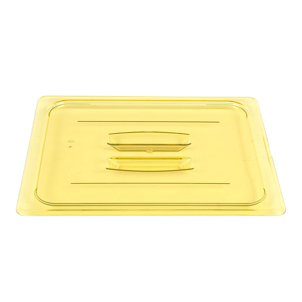 Cambro 20HPCH150 H-Pan Food Pan Cover - Half Size, Flat, Handle, Non-Stick, Amber