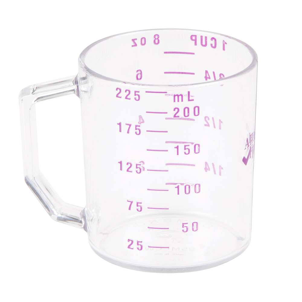 Cambro 25MCCW441 Dry Measuring Cup w/ 1-Cup Capacity, Allergen-Free, Polycarbonate, Clear