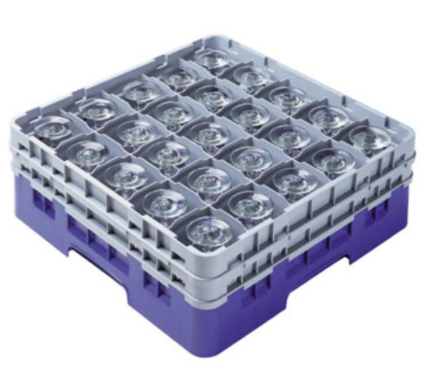 Cambro 25S418151 Camrack Glass Rack 25 Compartments 4 1/2 in High Gray Restaurant Supply