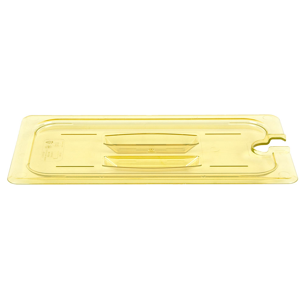 Cambro 30HPCHN150 H-Pan Food Pan Cover - 1/3 Size, Non-Stick, Notched with Handle, Amber