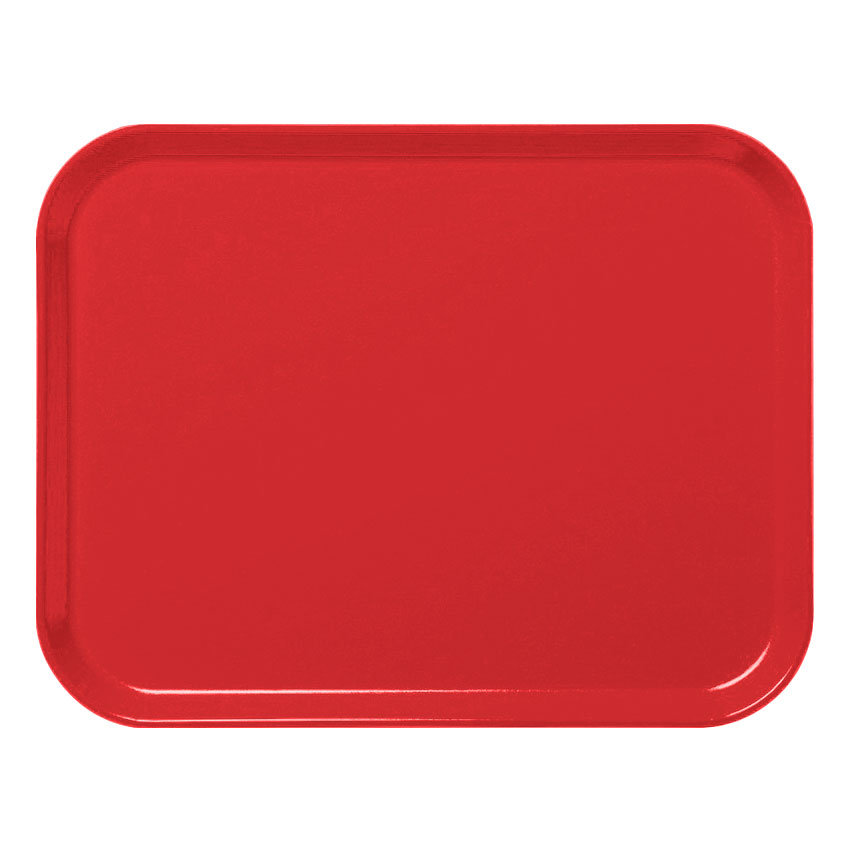 "Cambro 3253CL163 Rectangular Camlite Tray - 12-3/4x21"" Rose Red"