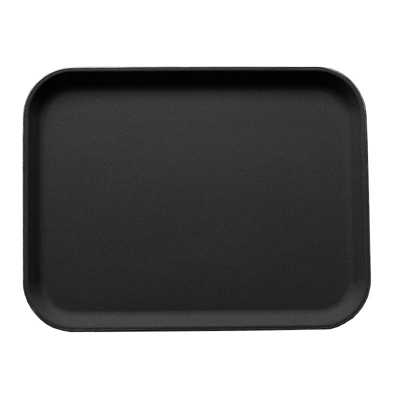 "Cambro 3253CT110 Rectangular Camtread Serving Tray - 12-3/4x21"" Black Satin"