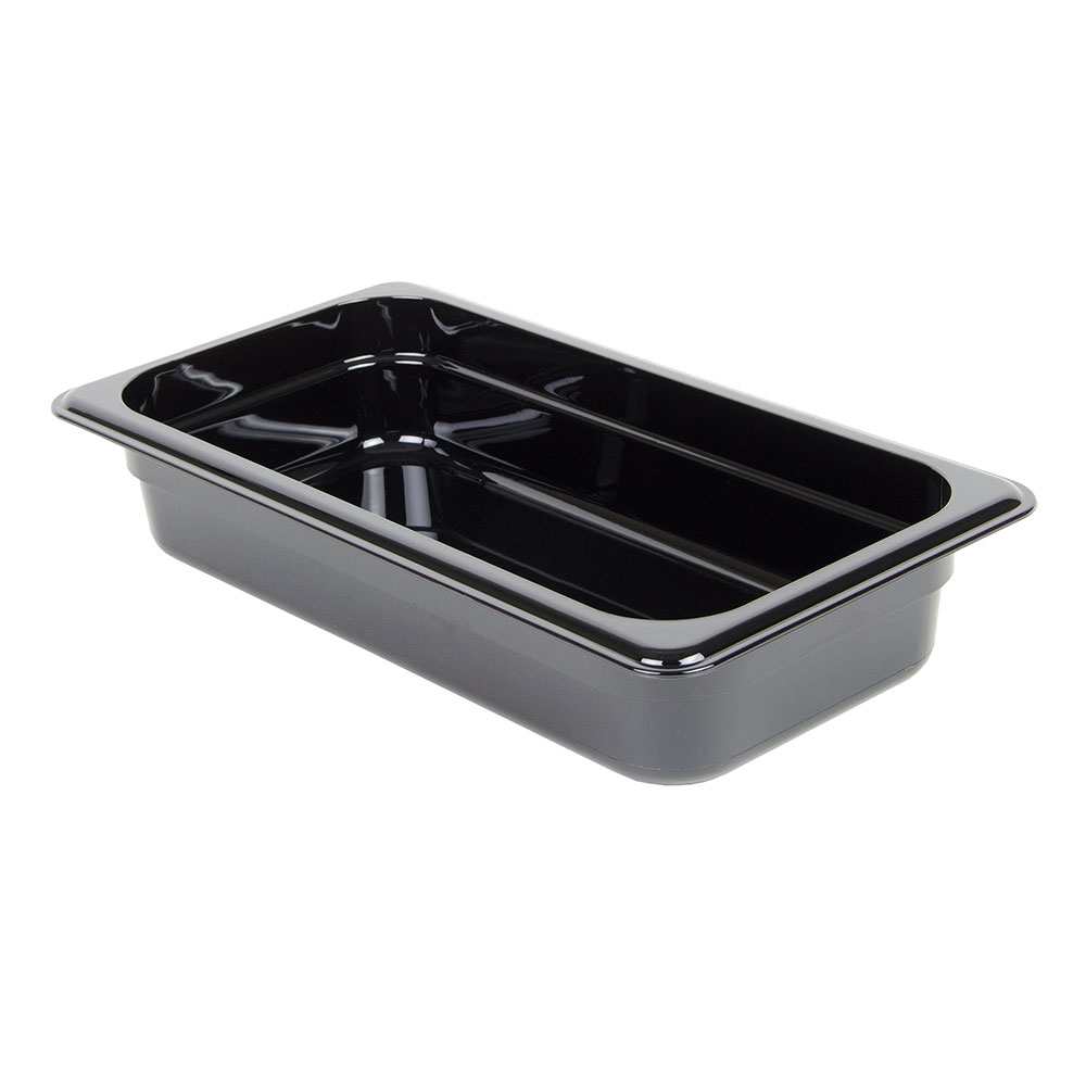 "Cambro 32HP110 H-Pan Hot Food Pan - 1/3 Size, 2-1/2""D, Non-Stick, Black"