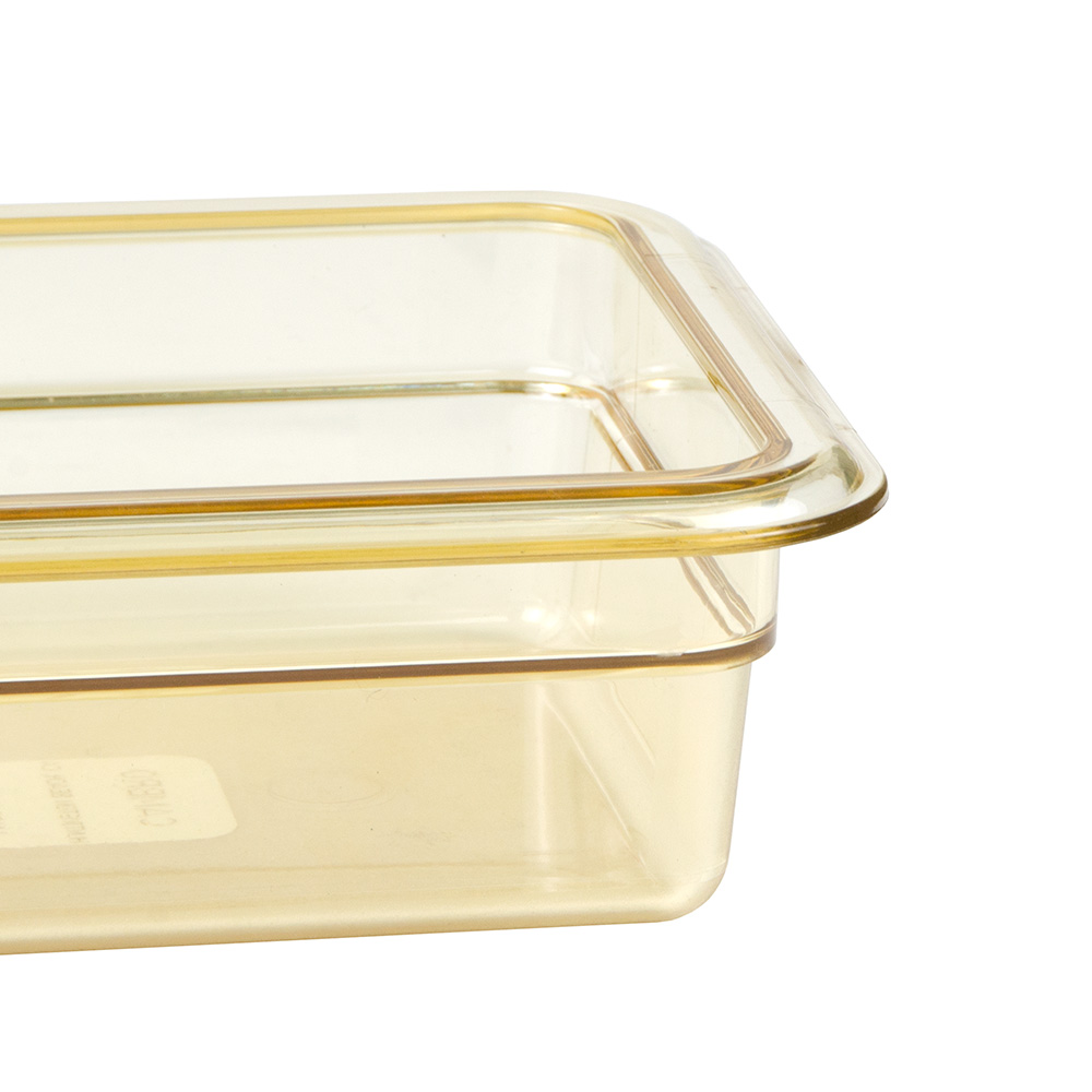 """Cambro 32HP1H150 High Heat 1/3 Size Food Pan w/ Handle - 2.5""""D, Amber"""
