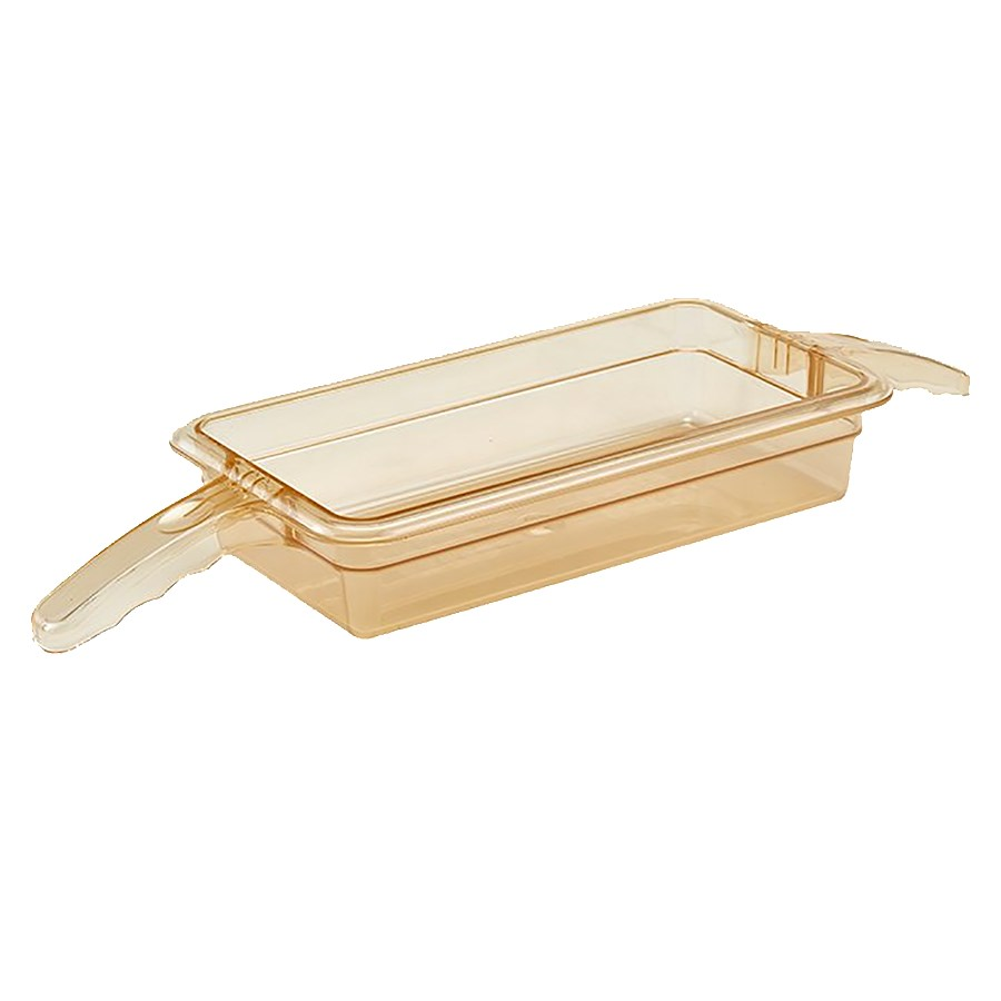 "Cambro 32HP2H150 High Heat 1/3 Size Food Pan w/ Handles - 2.5""D, Amber"