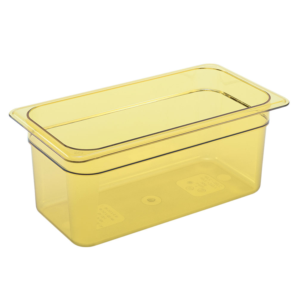 "Cambro 34HP150 H-Pan Hot Food Pan - 1/3 Size, 4""D, Non-Stick, Amber"