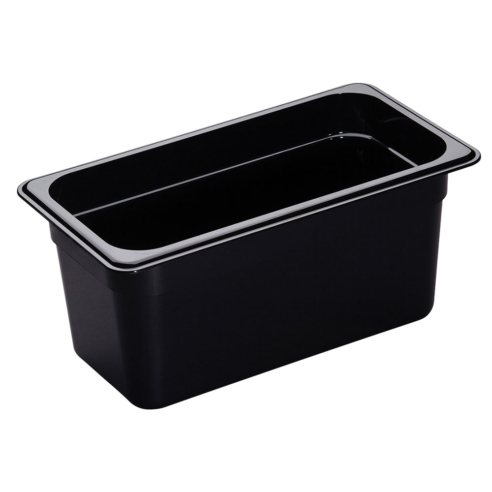 "Cambro 36HP110 H-Pan Hot Food Pan - 1/3 Size, 6""D, Non-Stick, Black"
