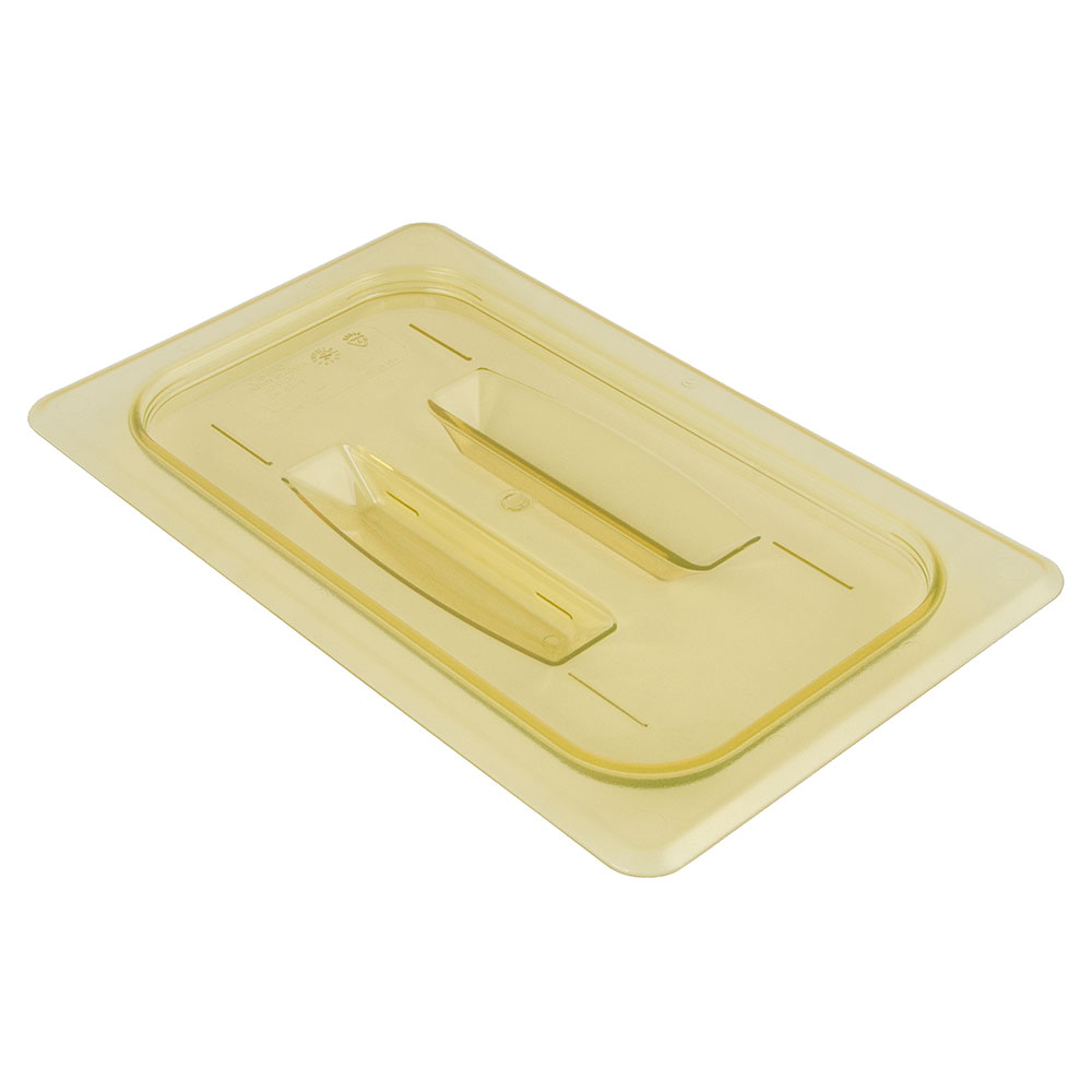 Cambro 40HPCH150 H-Pan Food Pan Cover - 1/4 Size, Non-Stick, Flat with Handle, Amber