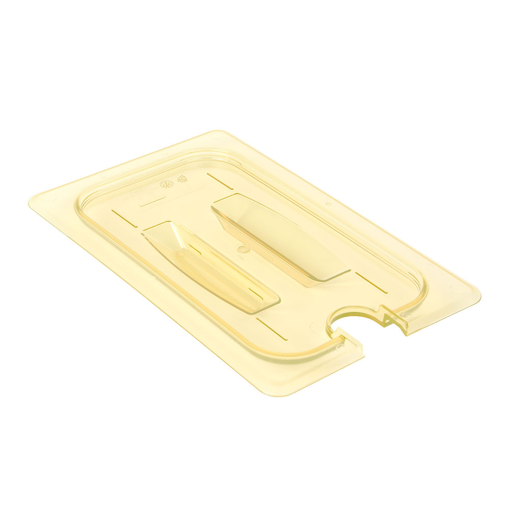 Cambro 40HPCHN150 H-Pan Food Pan Cover - 1/4 Size, Notched with Handle, Non-Stick, Amber