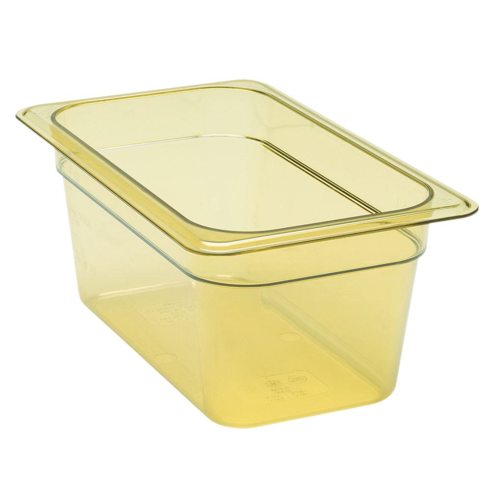 "Cambro 42HP150 H-Pan Hot Food Pan - 1/4 Size, 2-1/2""D, Non-Stick, Amber"