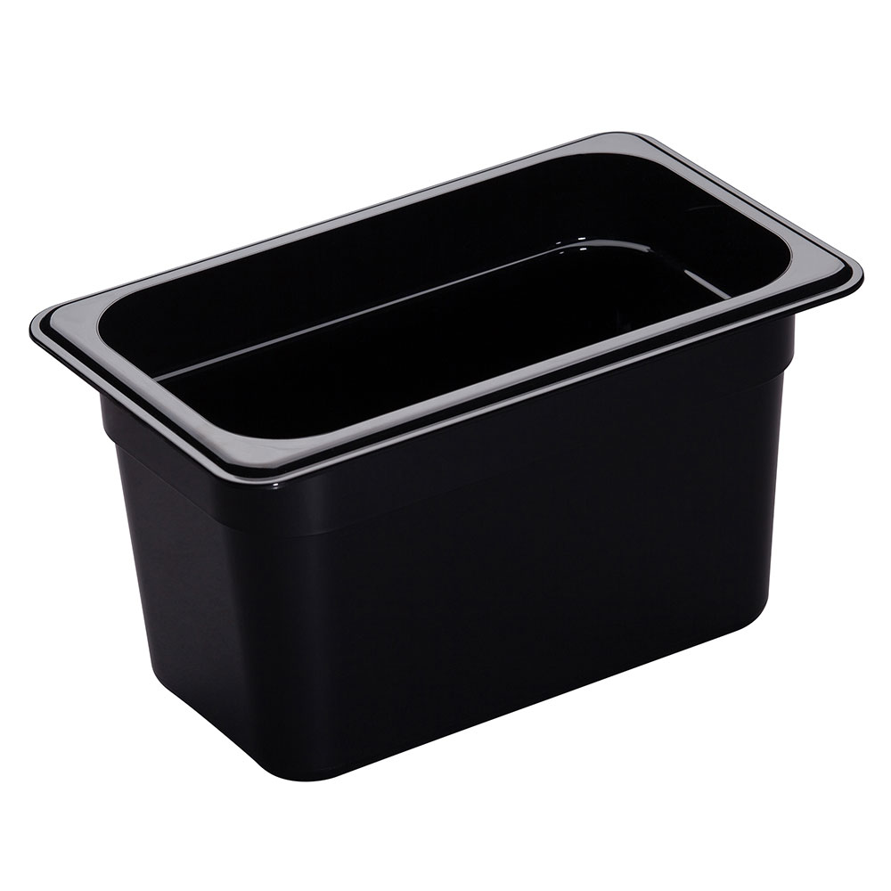 "Cambro 46HP110 H-Pan Hot Food Pan - 1/4 Size, 6""D, Non-Stick, Black"