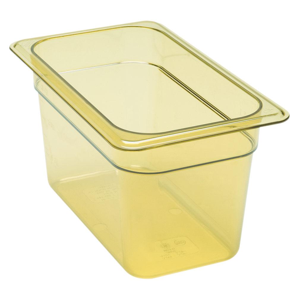 """Cambro 46HP150 H-Pan Hot Food Pan - 1/4 Size, 6""""D, Non-Stick, Amber"""