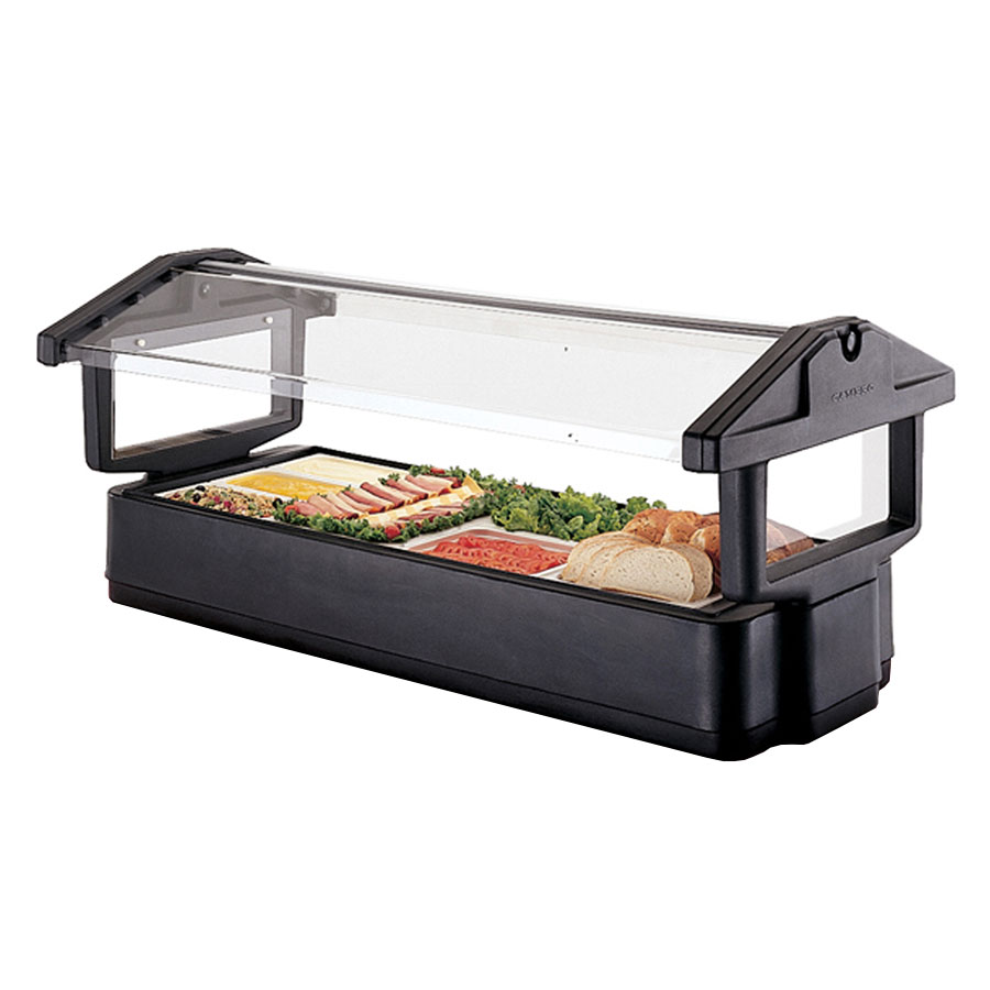 Cambro 5FBRTT110 Tabletop Salad Bar - (4) Pan Capacity, Ice Pan, Sneeze Guard, Black