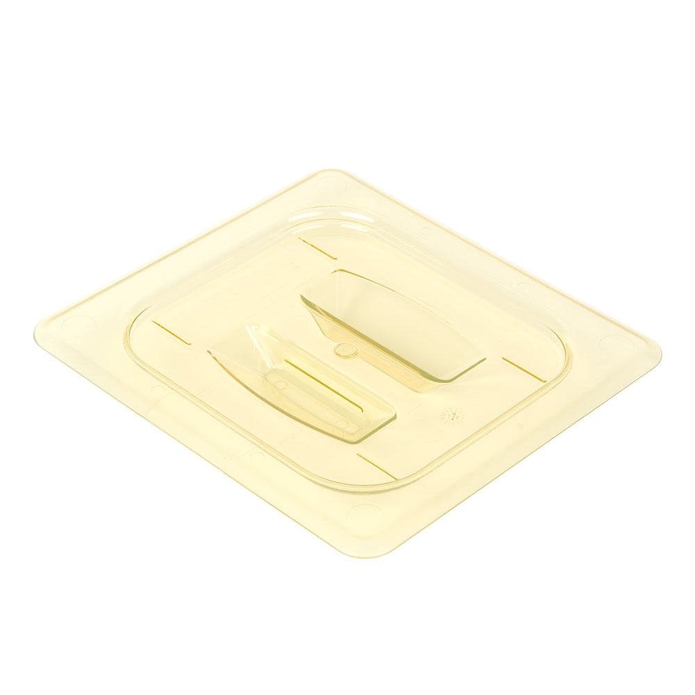 Cambro 60HPCH150 H-Pan Food Pan Cover - 1/6 Size, Non-Stick, Flat with Handle, Amber