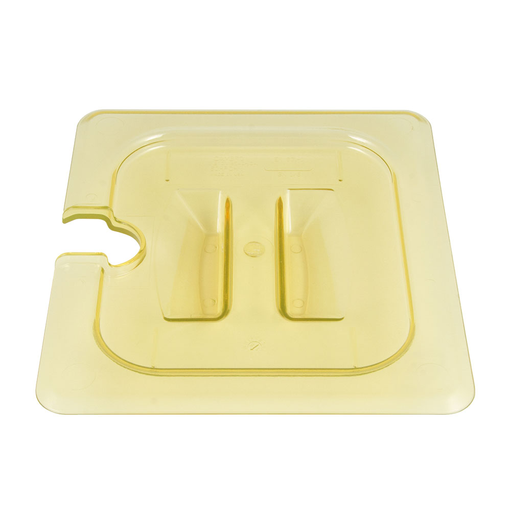 Cambro 60HPCHN150 H-Pan Food Pan Cover - 1/6 Size, Non-Stick, Notched with Handle, Amber