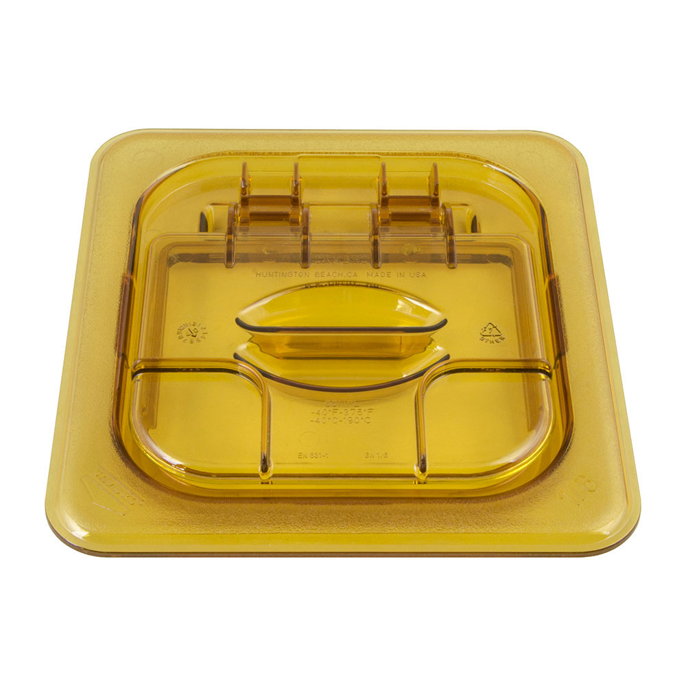 Cambro 60HPLN150 FlipLid Hot Food Pan Cover - 1/6 Size, Notched, Hinged, Amber