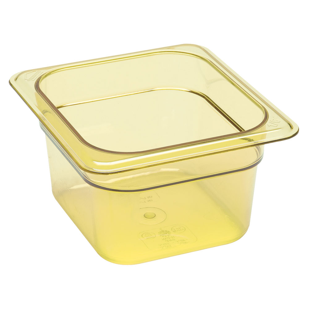 "Cambro 64HP150 H-Pan Hot Food Pan - 1/6 Size, 4""D, Non-Stick, Amber"