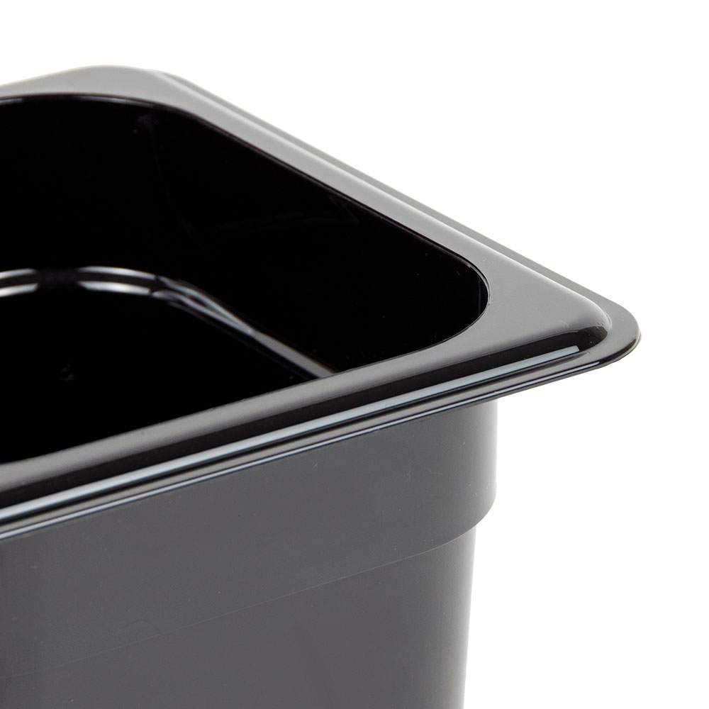 "Cambro 66CW110 Camwear Food Pan - 1/6 Size, 6""D, Black"