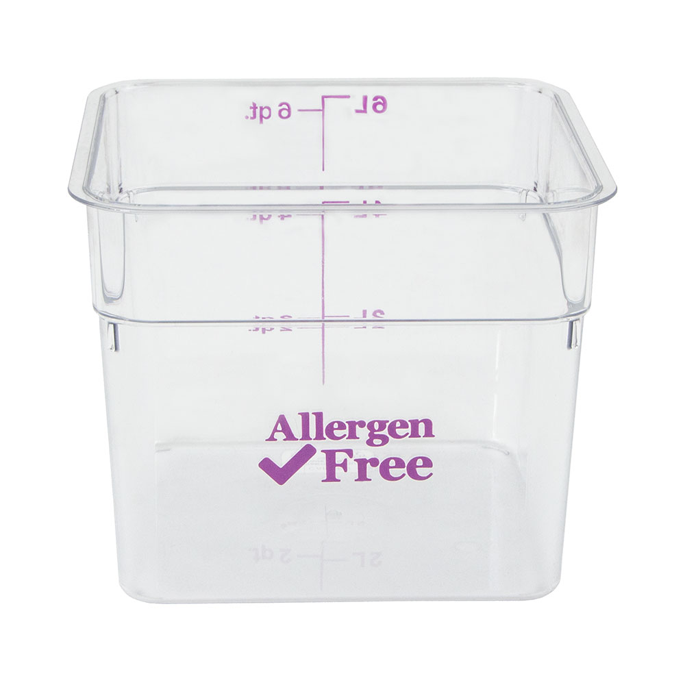 Cambro 6SFSCW441 6-qt Food Container - Allergen-Free, Polycarbonate, Clear