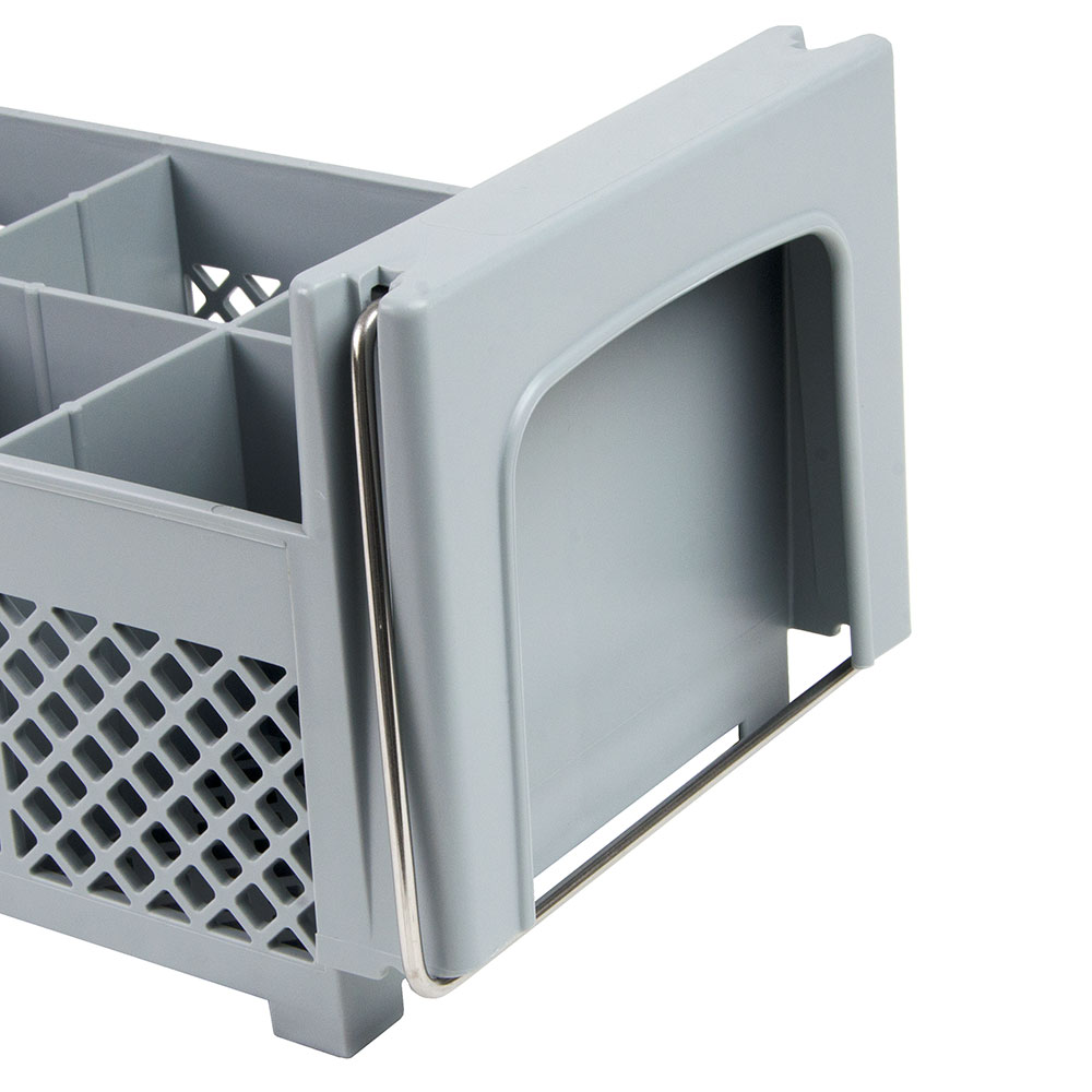 Cambro 8FB434151 Flatware Washing Basket with Handles - Half Size, 8-Compartment, Soft Gray