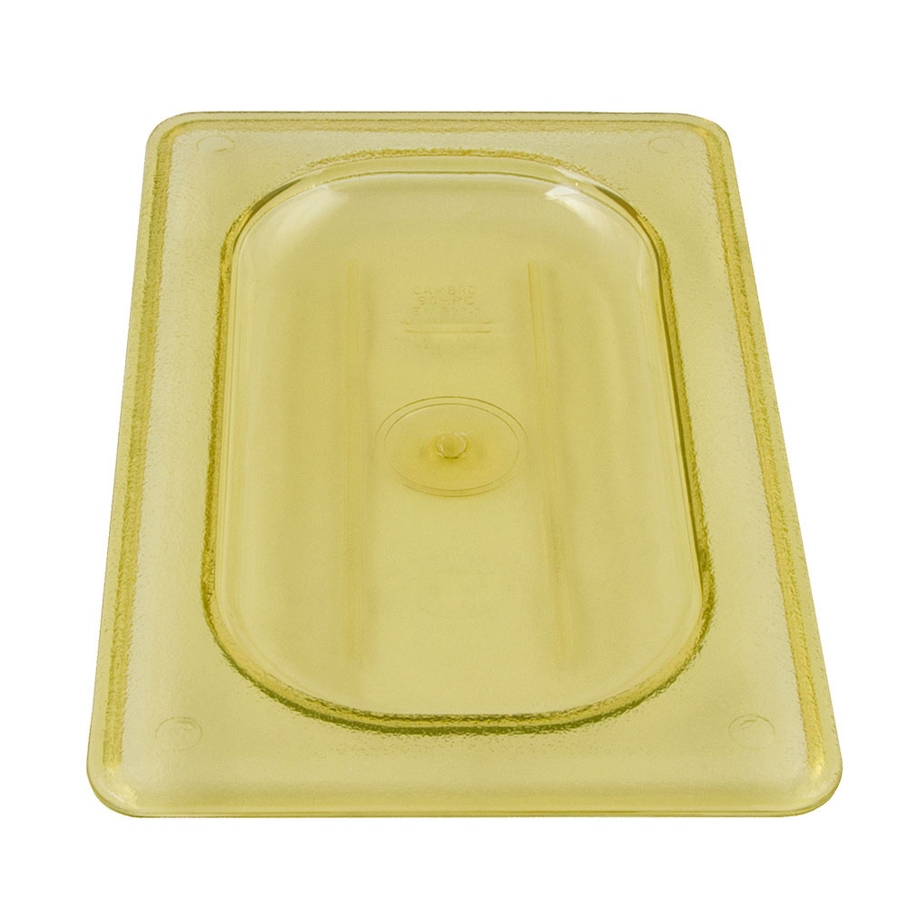 Cambro 90HPC150 H-Pan Food Pan Cover - 1/9 Size, Non-Stick, Flat, Amber