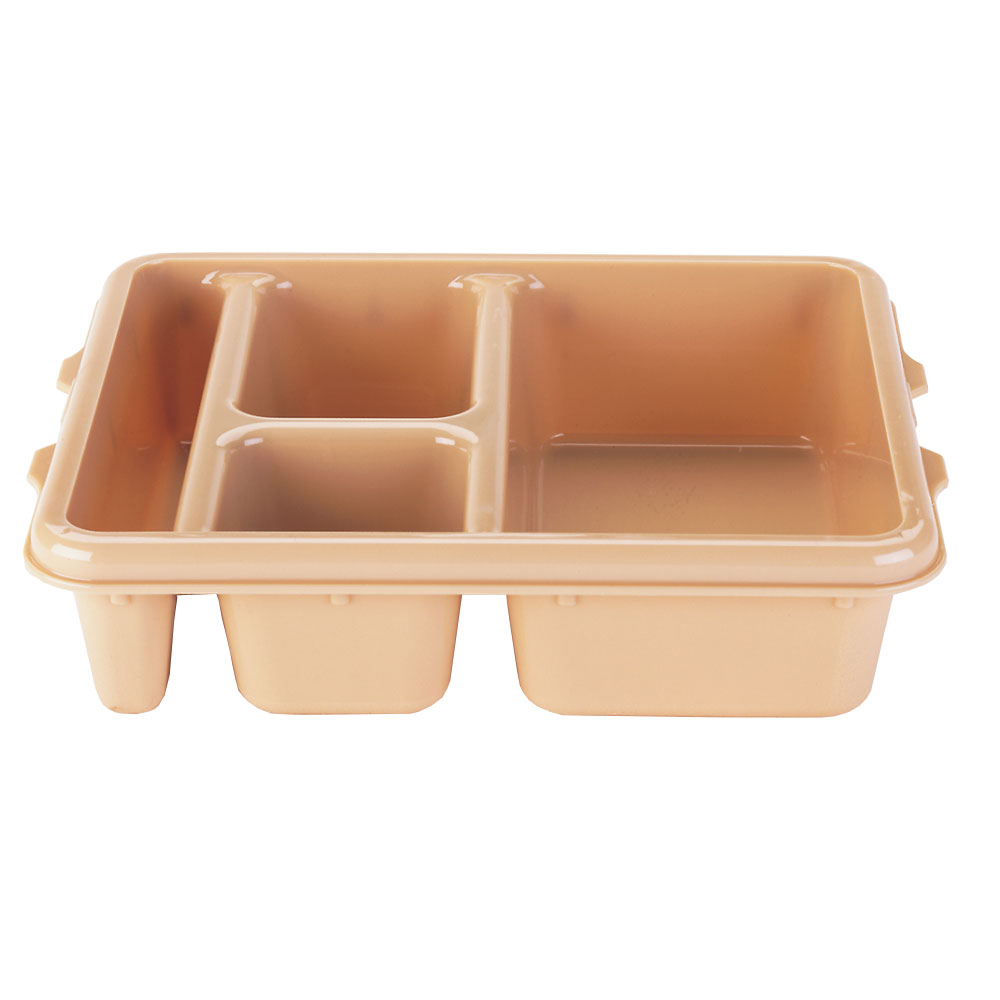 "Cambro 9114CW133 Rectangular Camwear Meal Delivery Tray - 5-Compartments, 9x11x2-1/2"" Beige"
