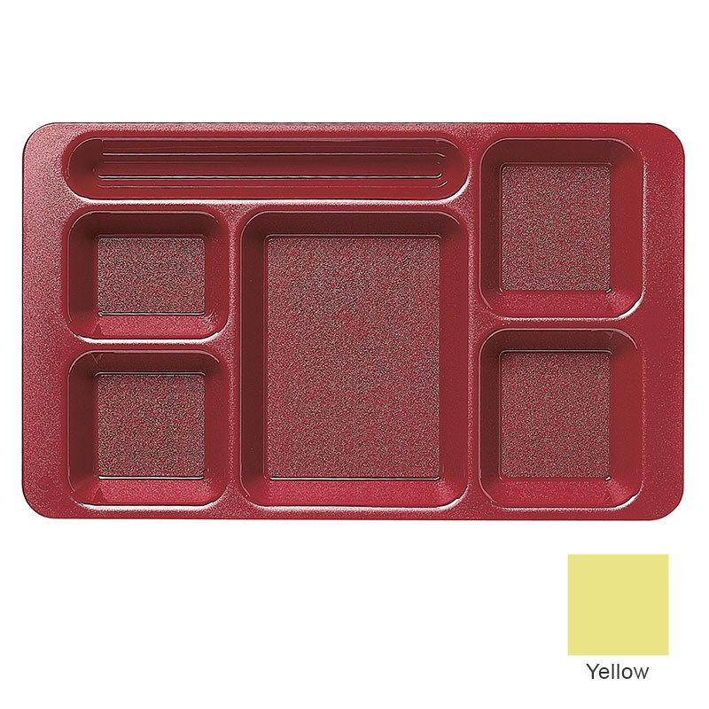 "Cambro 915CP145 Rectangular Camwear Tray - 6-Compartments, 9x15"" Yellow"
