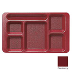 "Cambro 915CP416 Rectangular Camwear Tray - 6-Compartments, 9x15"" Cranberry"