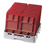 "Cambro 915CP416 Rectangular Camwear Tray - 6-Compartments, 9x15"" Cranberry"