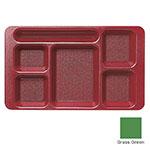 """Cambro 915CP437 Rectangular Camwear Tray - 9x15"""" 6-Compartments, Grass Green"""