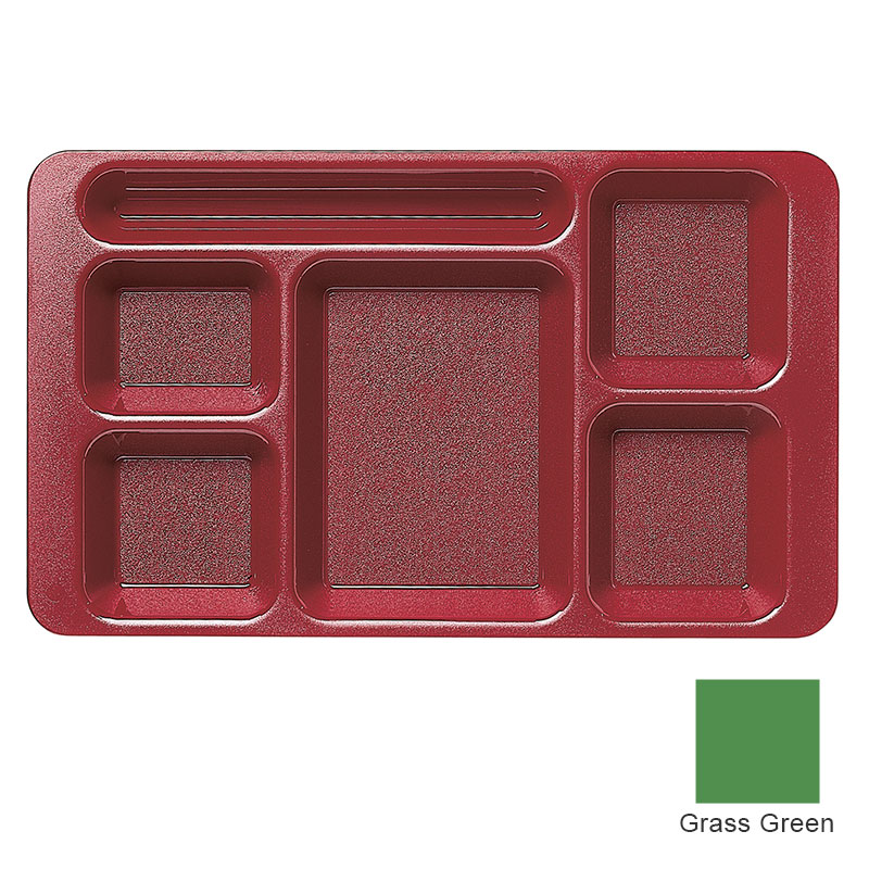 "Cambro 915CP437 Rectangular Camwear Tray - 9x15"" 6-Compartments, Grass Green"