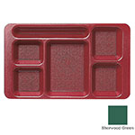 "Cambro 915CW119 Rectangular Camwear Tray - 9x15"" 6-Compartments, Sherwood Green"