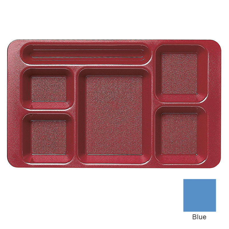"Cambro 915CW168 Rectangular Camwear Tray - 6-Compartments, 9x15"" Blue"