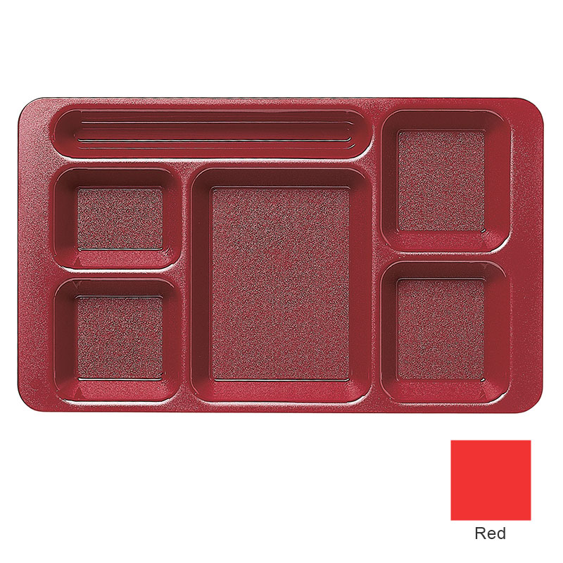"Cambro 915CW404 Rectangular Camwear Tray - 6-Compartments, 9x15"" Polycarbonate, Red"