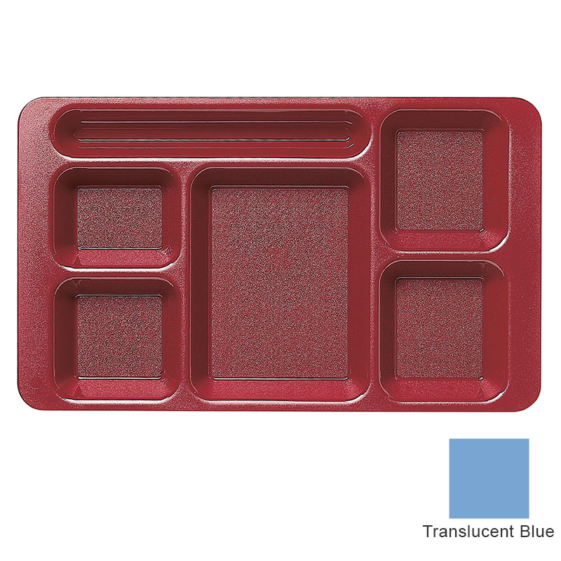 "Cambro 915CW431 Rectangular Camwear Tray - 9x15"" 6-Compartments, Translucent Blue"