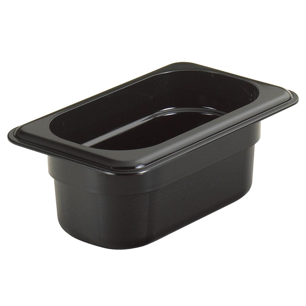 """Cambro 92HP110 H-Pan Food Pan - 1/9 Size, 2-1/2""""D Black"""