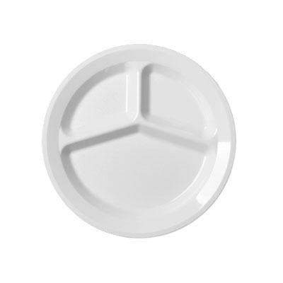 """Cambro 93CW148 9"""" Camwear Plate - 3-Compartment, White"""