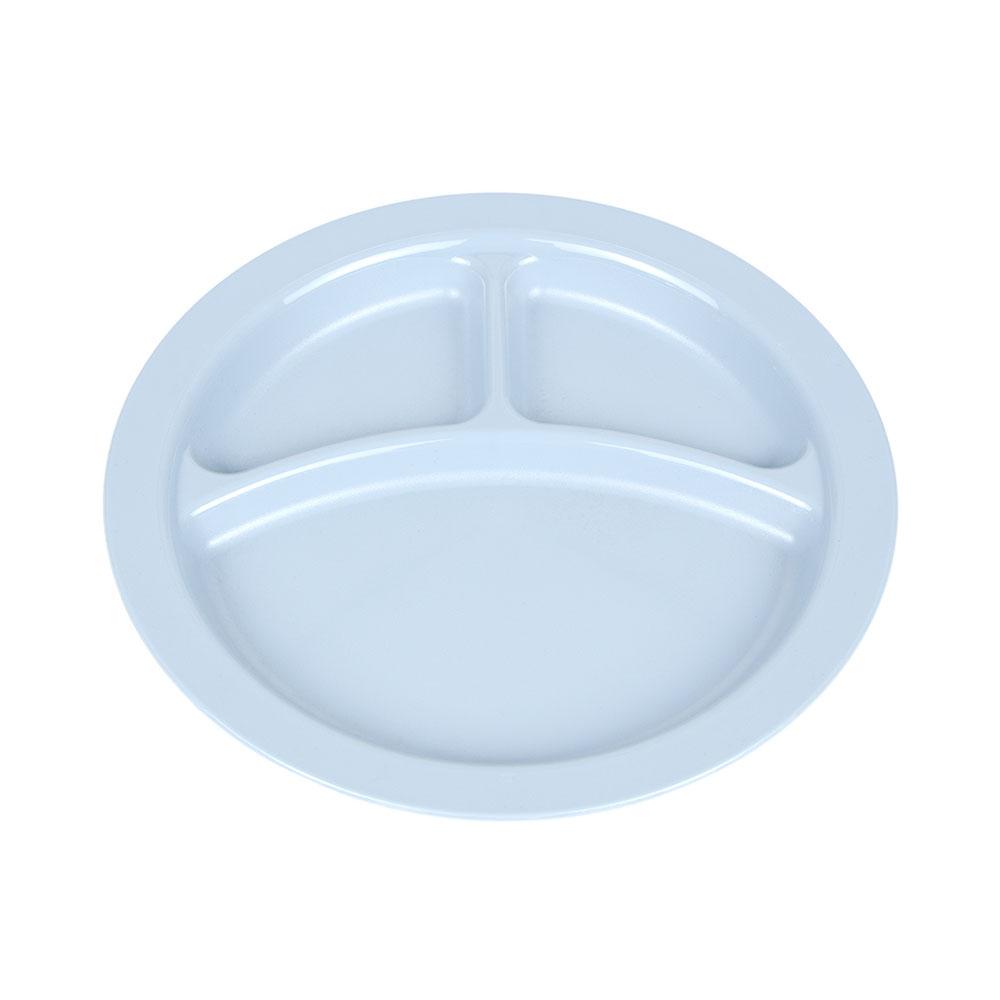 "Cambro 93CW401 9"" Camwear Plate - 3-Compartment, Slate Blue"