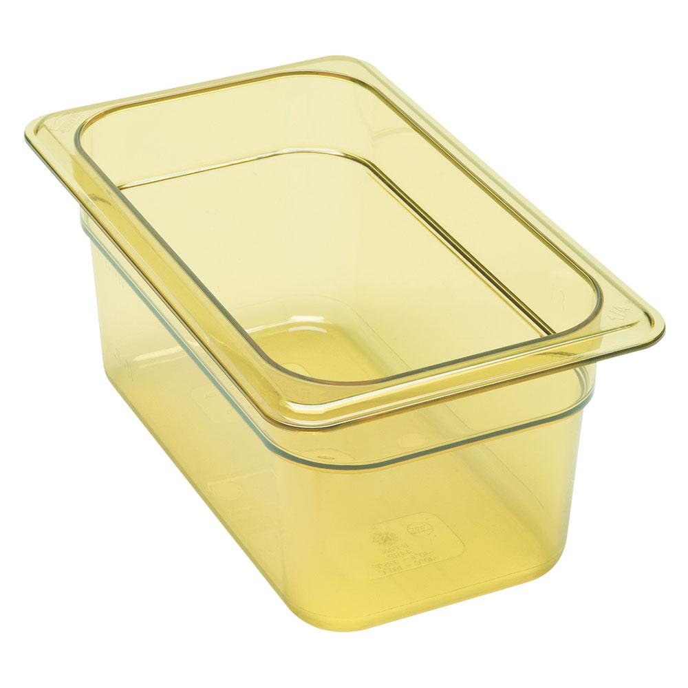 """Cambro 94HP150 H-Pan Food Pan - 1/9 Size, 4""""D Amber"""