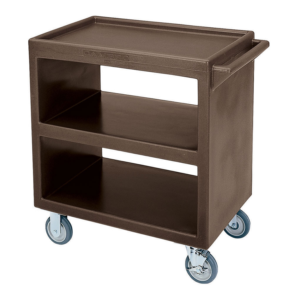 "Cambro BC2304S131 Service Cart - (3)20x27"" Shelves, (4)Swivel Castors, Dark Brown"